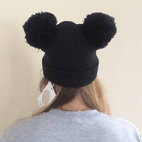 Monki black Mickey Mouse style POMPOM hat ✖️Brand new with - Depop bb19bdce4670