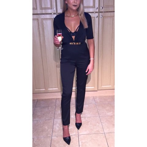 e353a588f0fe7 Missguided Black Plunge Jumpsuit - Size 6. Only wore this is - Depop