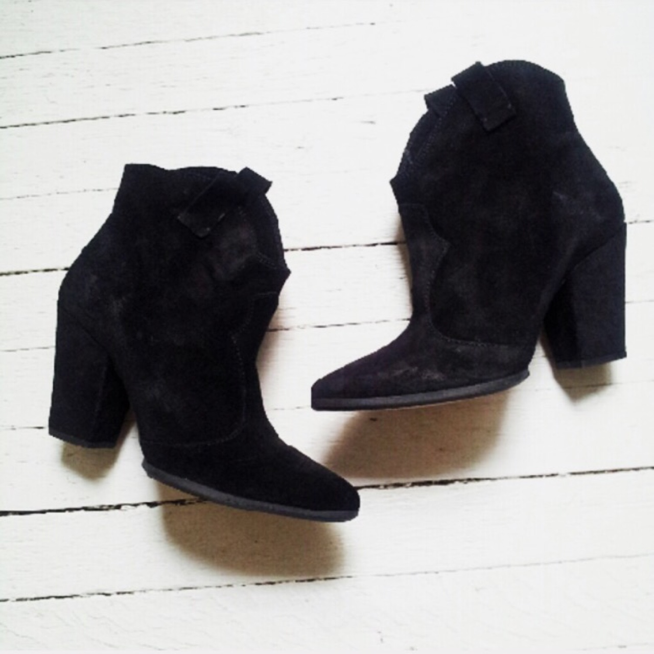 Zara Black Suede Ankle Boots with Heel