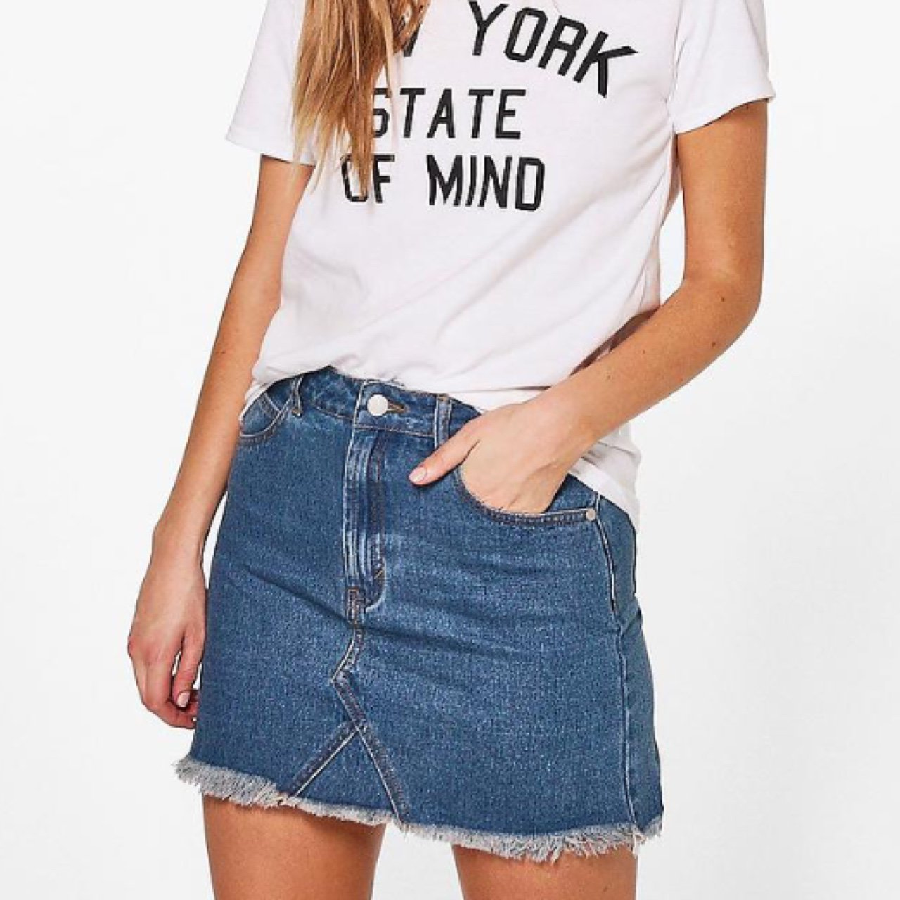 c13ba2d06a @alicechamberlainx. 2 years ago. Walsall, UK. Is anyone selling this boohoo  denim skirt ...