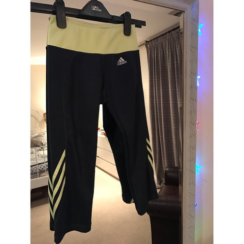 5edcb92a9d79b Women's adidas 3/4 gym leggings Black with Bright yellow - Depop