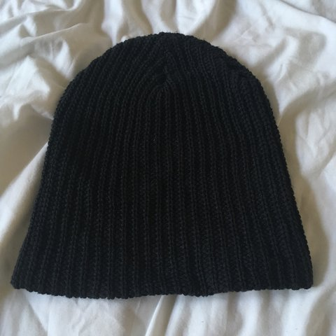 48a88824a72 American apparel black knitted fisherman s beanie - never - - Depop