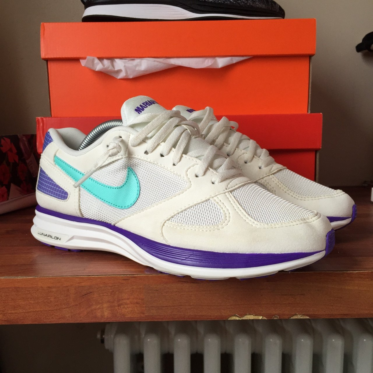 Here we have a pair of Nike lunar speed Mariah  grapes  in a - Depop a84d08d83