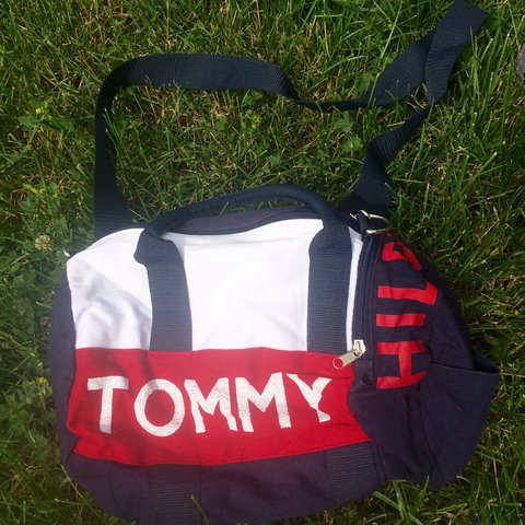 8f32fd776c35  kewpie6. 2 years ago. United States. Tommy Hilfiger small duffle bag -red navy  blue white