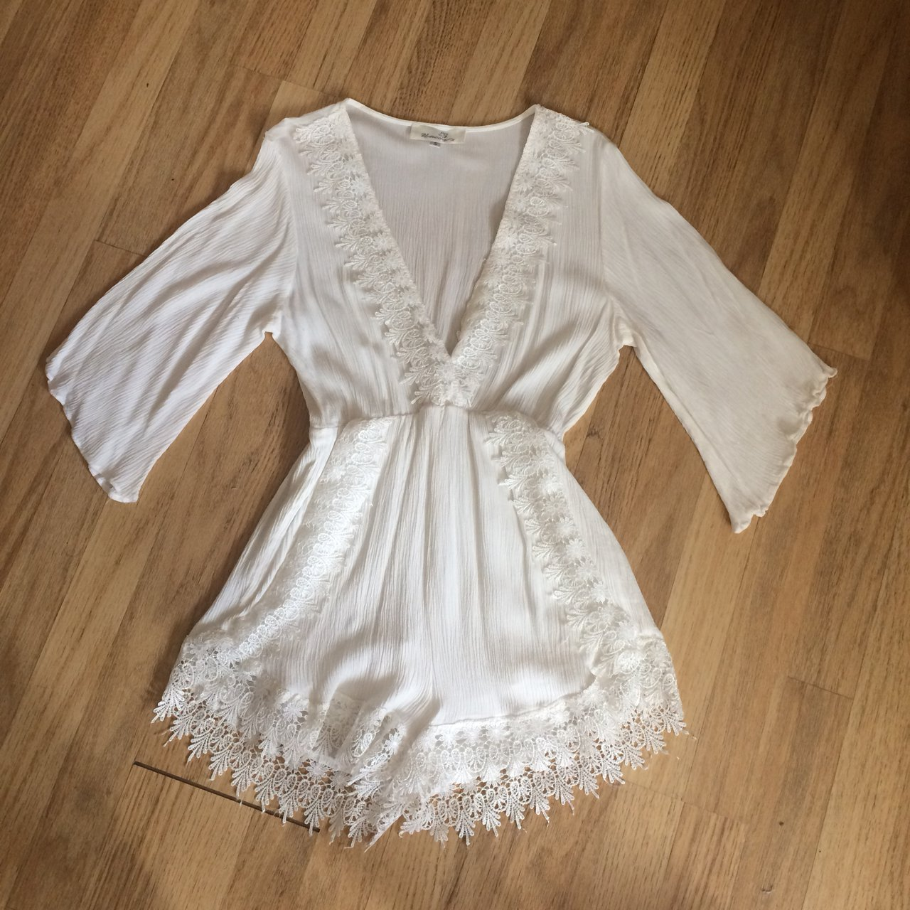 72fa940287 White lace detail playsuit
