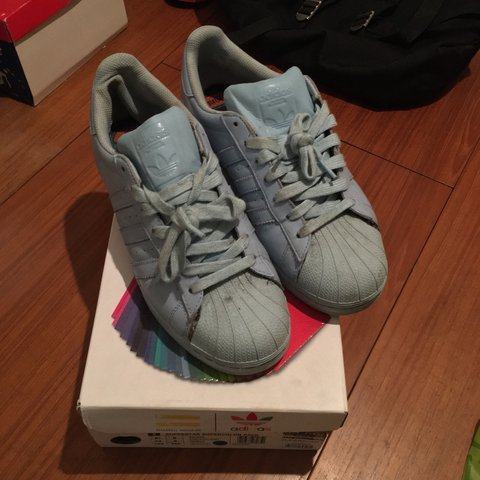 eebec3ee352dd Adidas superstar baby blue pharrell Williams Slight rip on - Depop