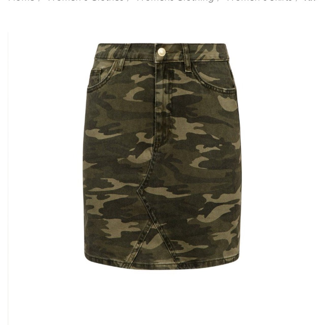 7f6ccc7f90 @ayeshaalderson. 9 months ago. United Kingdom. New Look Camo denim skirt worn  once! Size 8, perfect condition