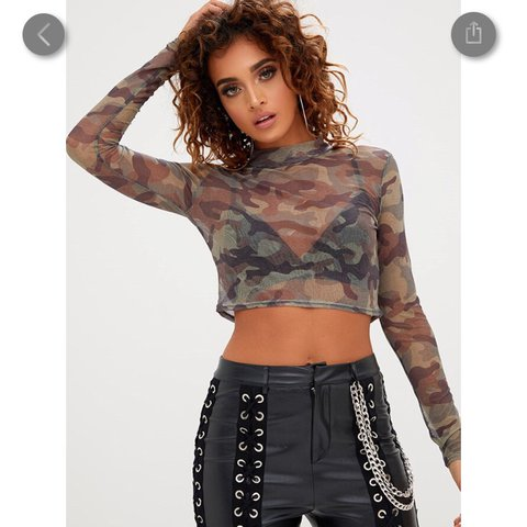 193d4278cd6f70 selling this camo khaki mesh crop top from pretty little 8