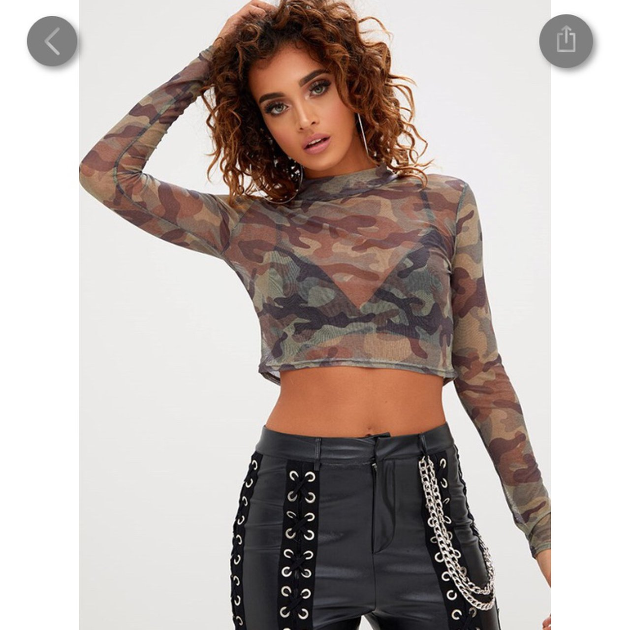 233924762cc6a selling this camo khaki mesh crop top from pretty little 8
