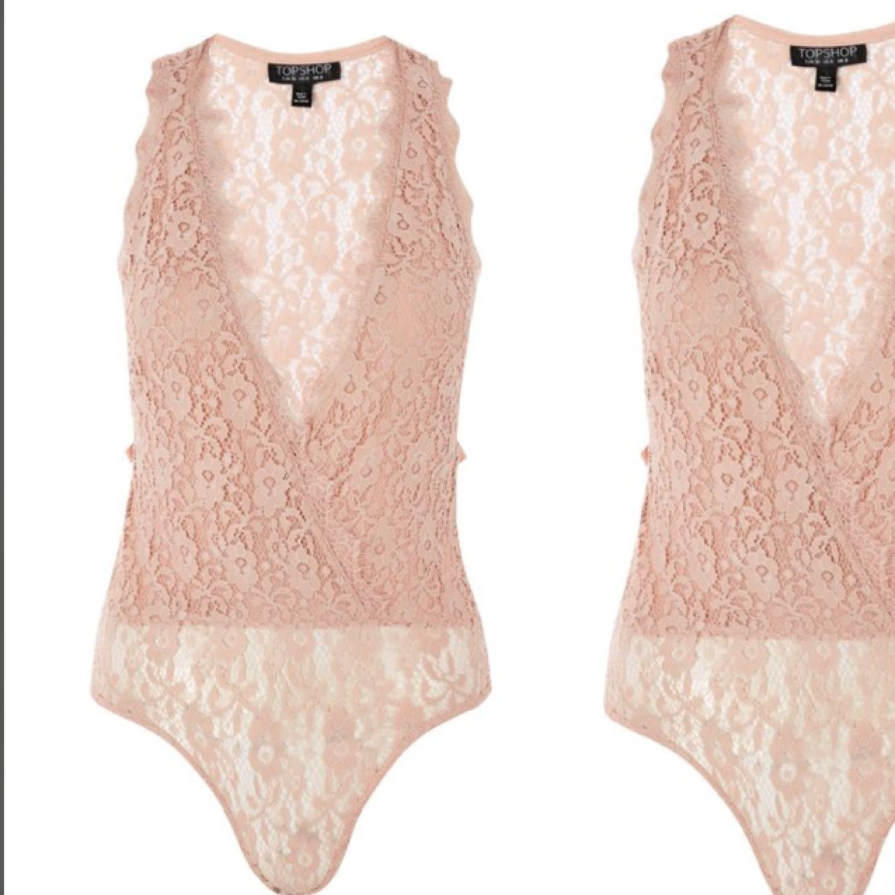 55585a01c5 Topshop baby pink lace tie up bodysuit in size 8