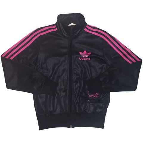 71a7692343e6 Tracksuit Jacket • Adidas • Chile 62 • Black   Pink • Women - Depop
