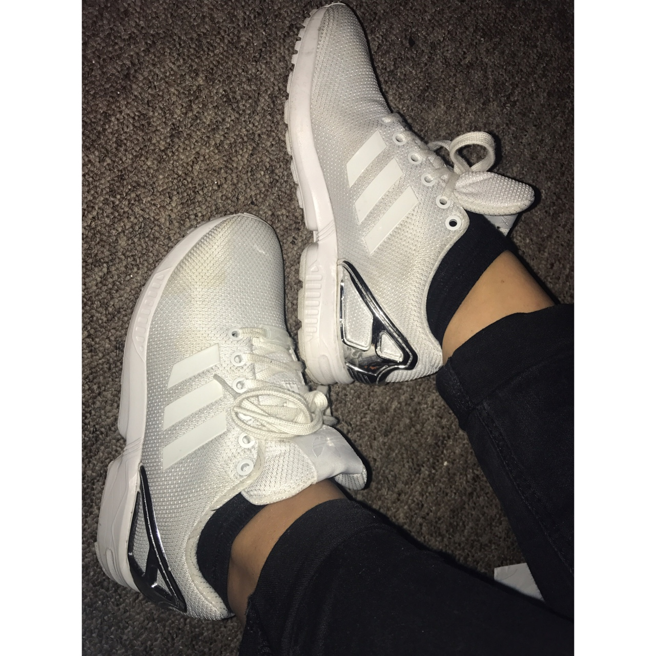 Whitesilver limited edition Adidas ZX flux torsion, Depop