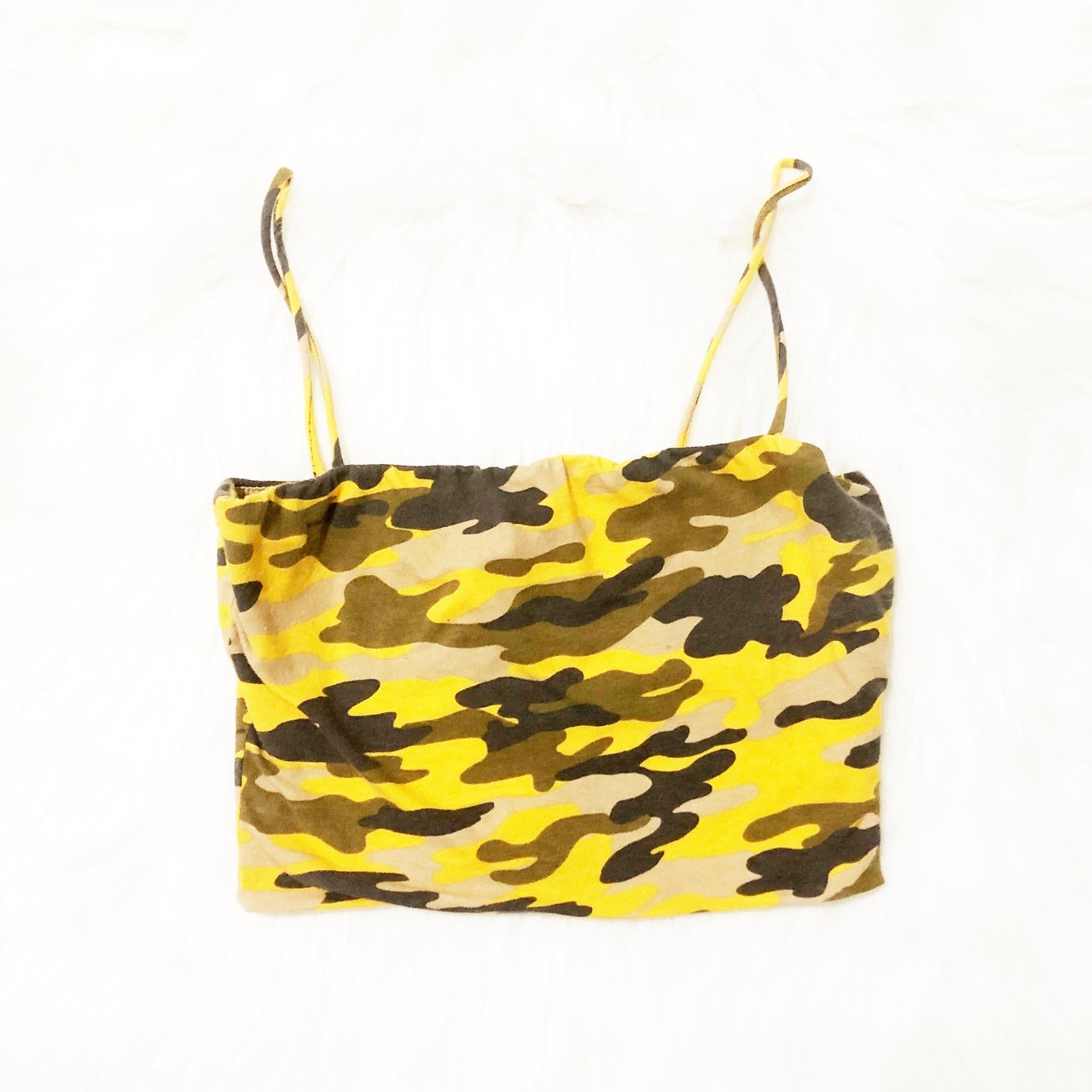 09b7b5734cc @meowpetals. 8 months ago. Los Angeles, United States. Yellow camo crop top.  Used once. Aesthetic baddie Fashion ...