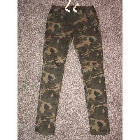 38ad2fc0e76 Distressed Camouflage (Camo) pants in a size Medium by Bazi. - Depop