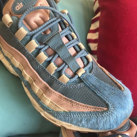 2c590fa5107b1 really unusual Nike Air Max 95 embossed pony hair- blue and - Depop