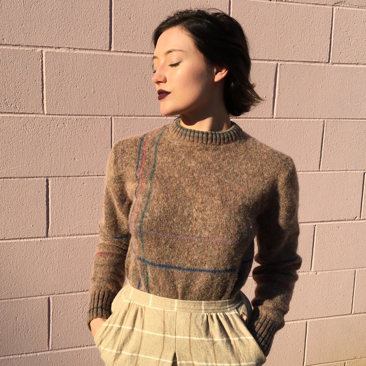 cf460dff2b2 Vintage wool sweater. Pastel stripes intersect for a very is - Depop