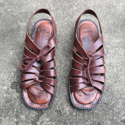 3e6d251182e2 Vintage square toed leather sandals by Croft   Barrow. to an - Depop