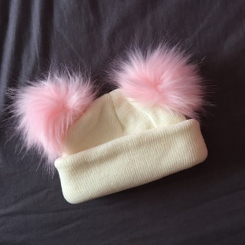 Brand new double Pom Pom hat for babies 3 months onwards for - Depop 98109036931