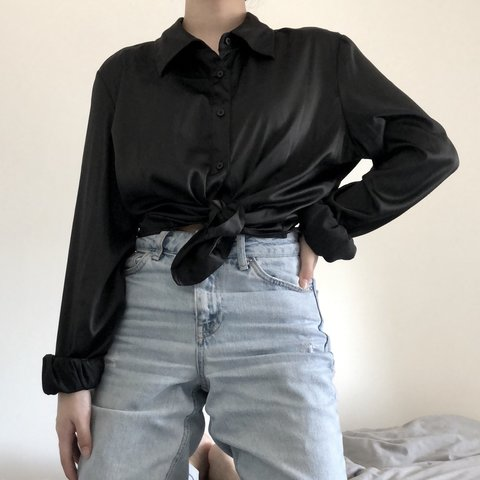 55eb074b @maddiezh. 9 months ago. New York, United States. Vintage black silky  button down shirt. Has a gorgeous sheen ...