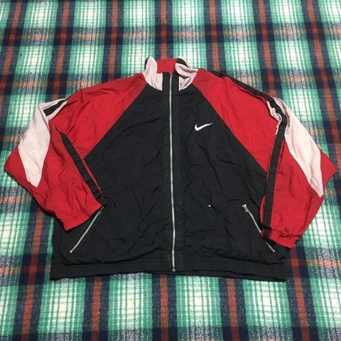 2977e128c2be Vintage 90s Nike Jacket Tri colored. Has one small rip on a - Depop