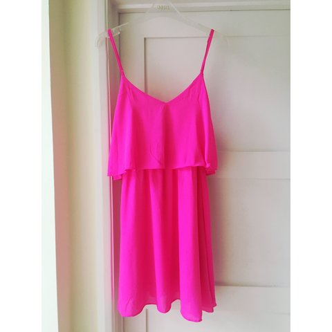 68408f89190 Pretty layered cami dress from Missguided. Hot pink   for   - Depop