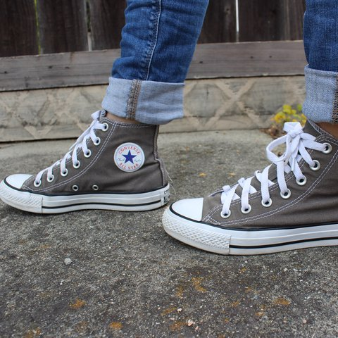 Charcoal gray high top converse all