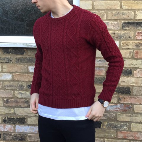 Unisex deep red cable knit jumper • from Asos • size Small • - Depop 73419e9d5