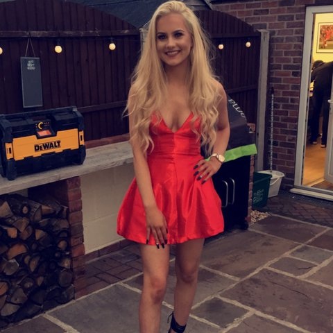 aa080e8206 Red satin plunge skater dress from ohpolly