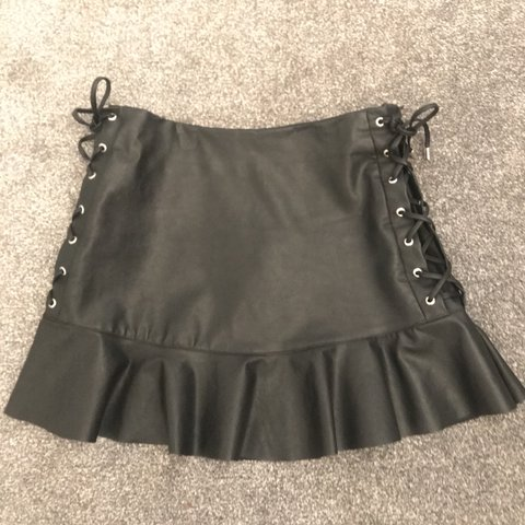 Zara Faux Leather Lace Up Peplum Mini Skirt So Nice For Out Depop