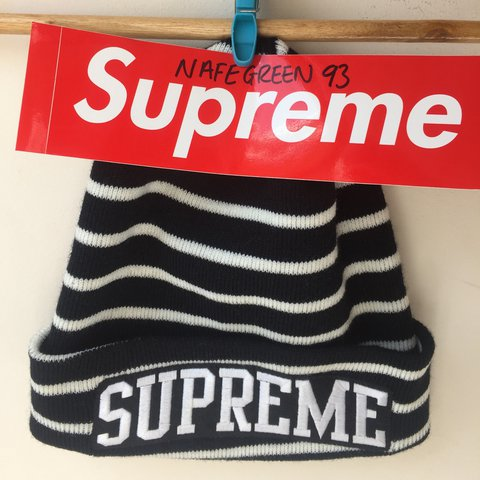 99d7db8d1ed Supreme Team Stripe Beanie FW14 8 10 One Size  cybermonday - Depop