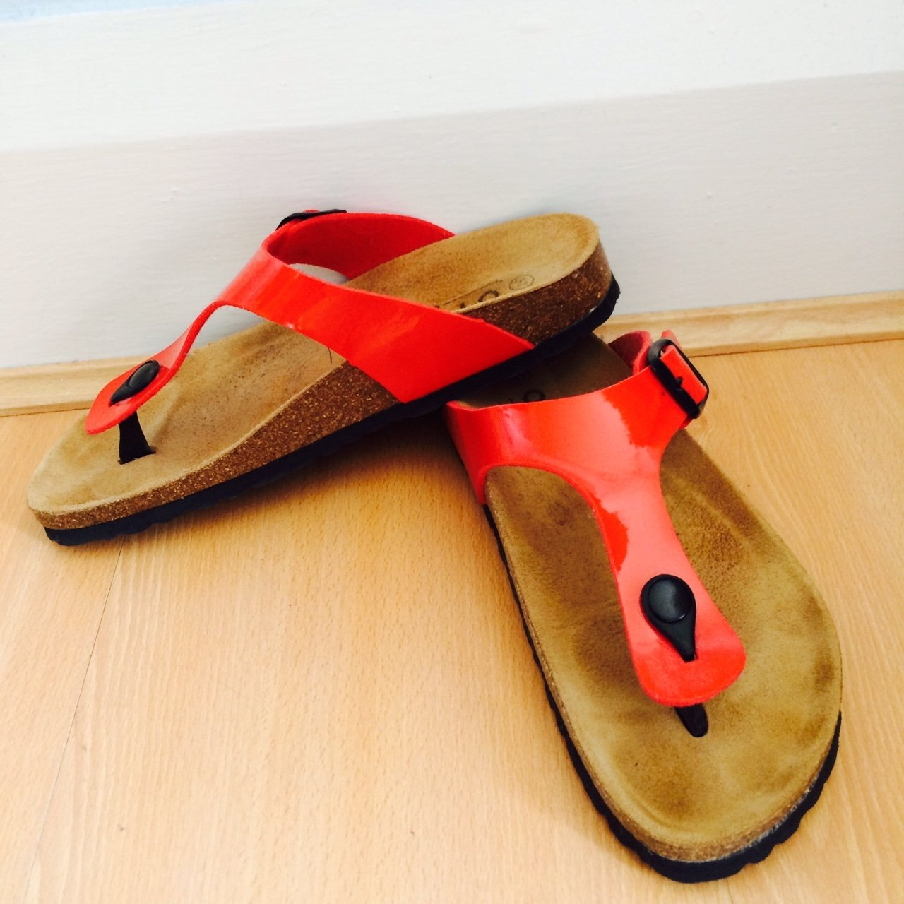 b581f14e90aa Birkenstock Style Office Shoes Size 5 Red Cork Sandals. BEEN - Depop