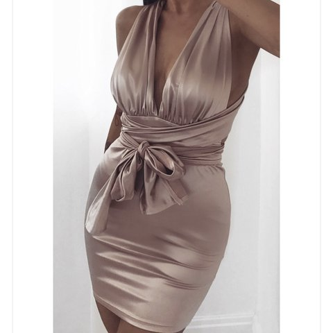 c7a3145a36c9a Gorgeous satin champagne pink/ nude multiway tie dress. new - Depop