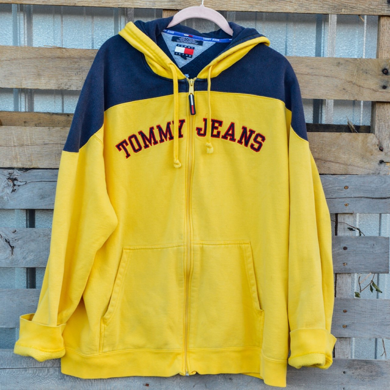 839f1469 RESERVED Tommy Hilfiger Bright Yellow Hoodie 💛 So warm and - Depop