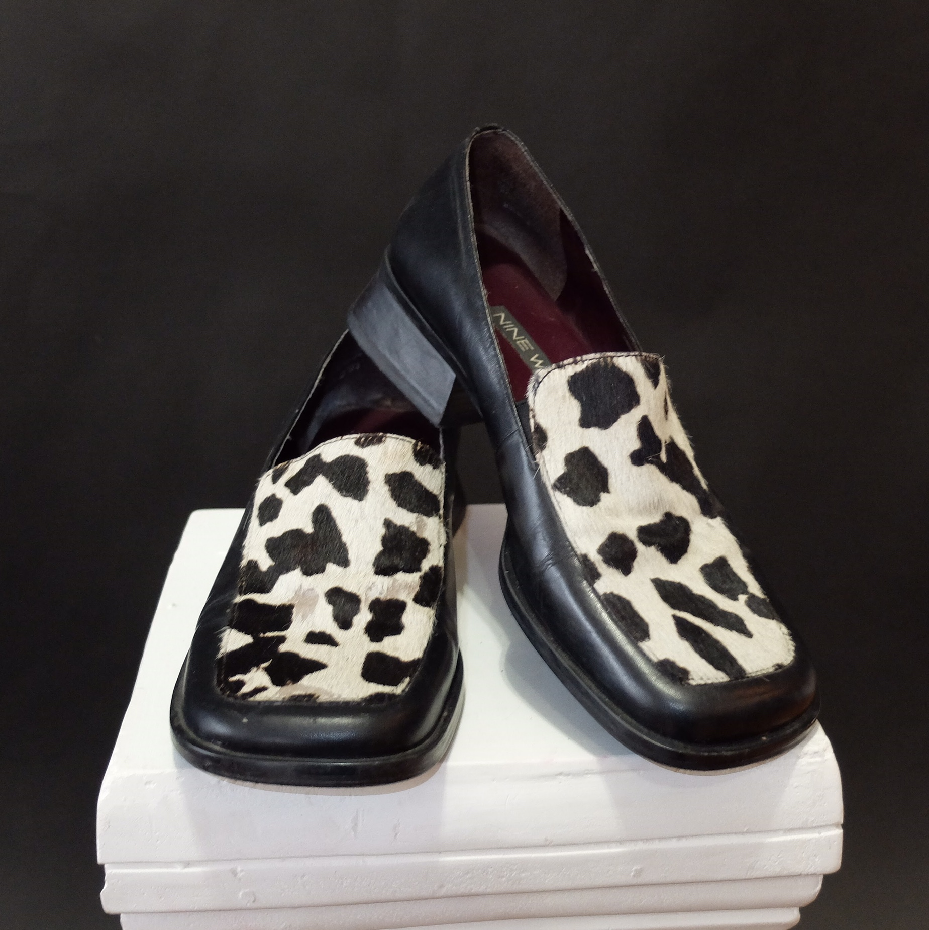 cow print loafers