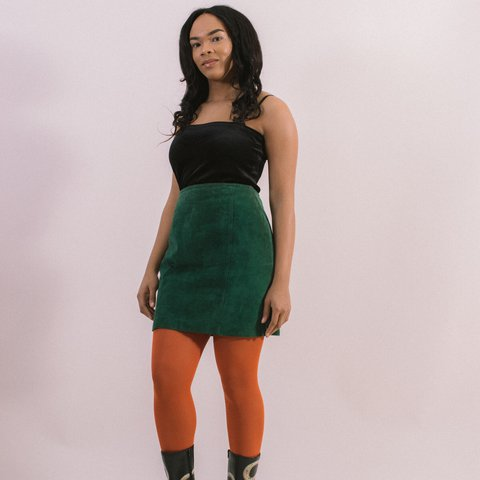 c02f721ea @threepigs. last year. Pittsburgh, United States. Moss Skirt 80s High  Waisted Green Suede Skirt -fully lined ...