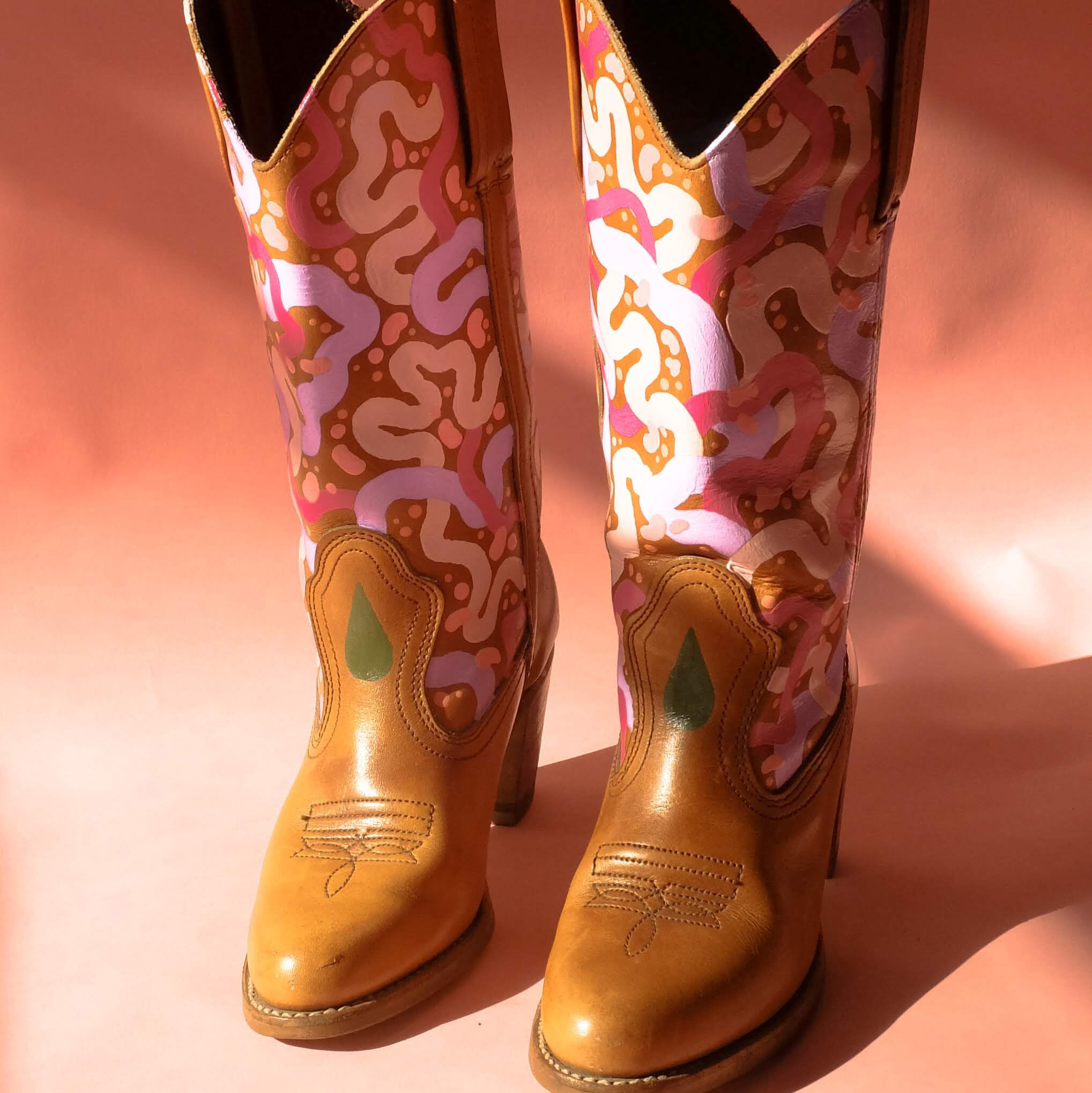 b71a77251fe Space Cowboy Boots 70s Hand Painted Cowboy... - Depop