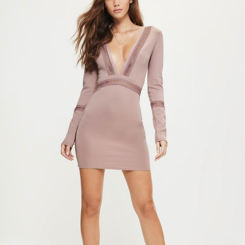 c16c5e1187 Missguided Front Plunge Mesh Panel Bodycon Dress In mauve