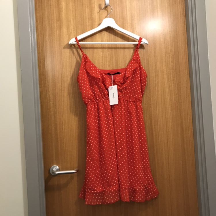 ZAFUL red summer dress with white polka dots perfect