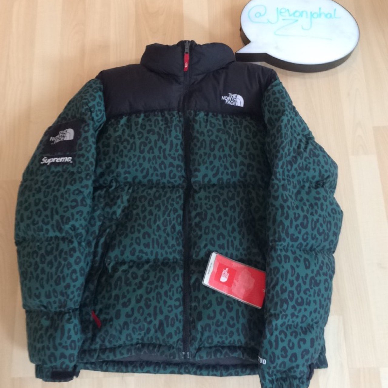 f1bd4a68011f Supreme x The North Face  green leopard nuptse jacket. Size - Depop
