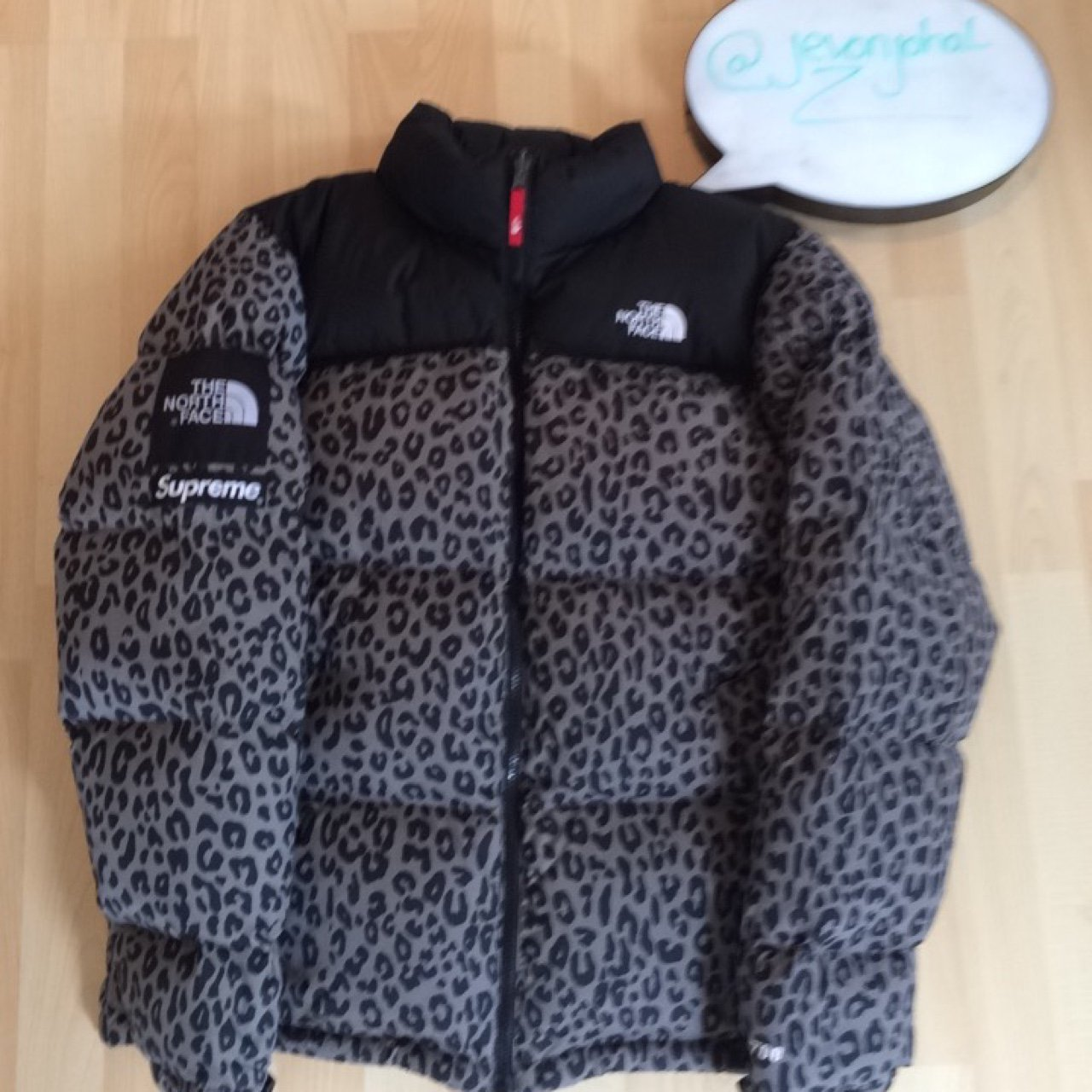 25c46a3e21 Supreme x The North Face  grey leopard nuptse jacket. Size - Depop