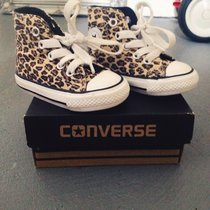 baby leopard print converse, worn once