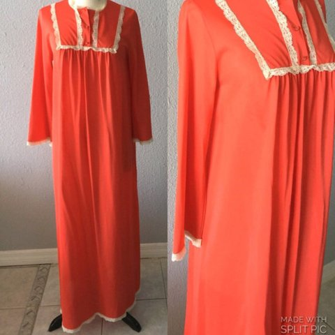 1960 s Vintage red nightgown with lace detail. No tags on a - Depop 6d11d0e90