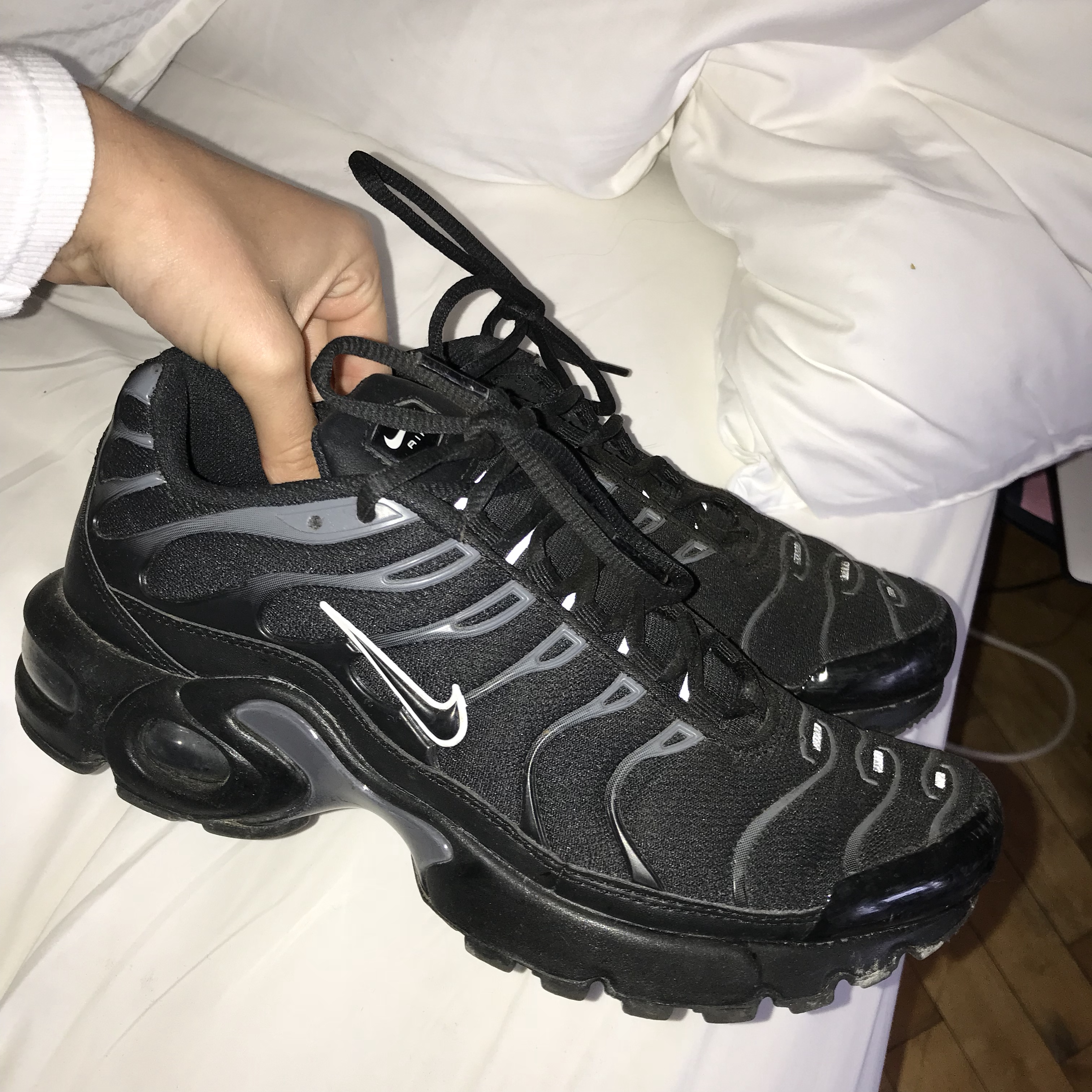 innovative design fc185 859ac Triple black nike tns with white tick and reflective... - Depop