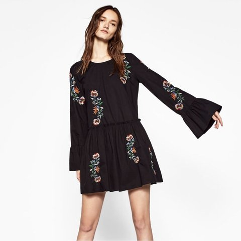 9e1466e5ed Zara Black Floral Embroidered Dress. Only worn once