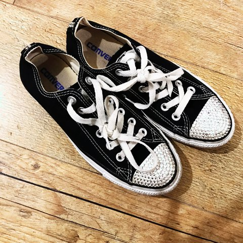 25b1269600cd Black Converse trainers for sale size 5 few gems missing on - Depop