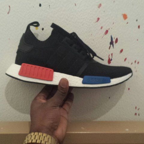 75b94672ab4b6 Adidas NMD R1 OG Primeknit Black Red. UK Size 9. Brand New - Depop