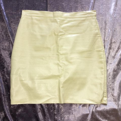 e5f5253d49 @daisygjx. 3 years ago. Coventry, UK. Size 12 missguided yellow leather  look skirt, worn ...