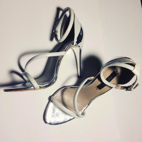 863a5e954f4 Zara White High Heel Strappy Sandals with metal Silver and - Depop