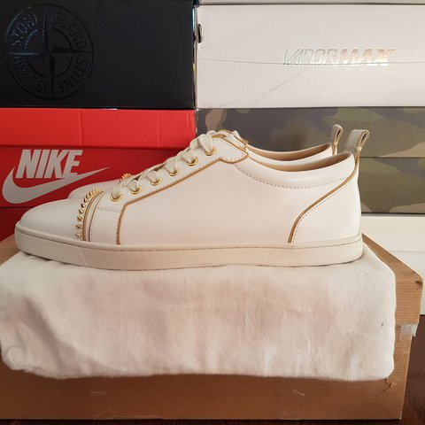 bd977d51a28 Christian louboutin low White and gold Uk size 7 9.5 10 - Depop