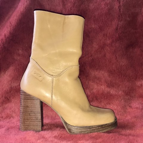 075a9e42bc3 Sweet pair of Candies late 90s tan chunky platform boots. No - Depop